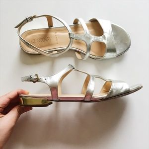 J. Crew Silver and Gold Gladiator Sandals Alie